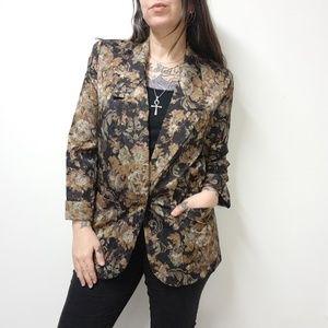 vtg 80s/90s LESLIE FAY Black Floral Brocade Blazer